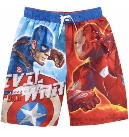 traje de baño captain america vs iron man original oficial