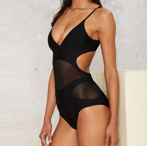 traje de baño completo mujer monokini bikini transparencias.