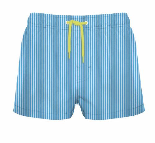 traje de baño corto estampado rayado celeste crouch