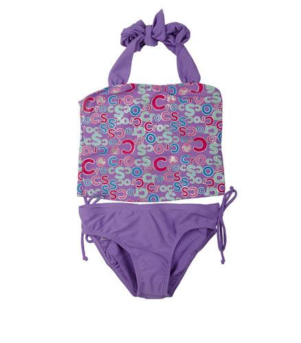 traje de baño crocs strapless purple para niñas