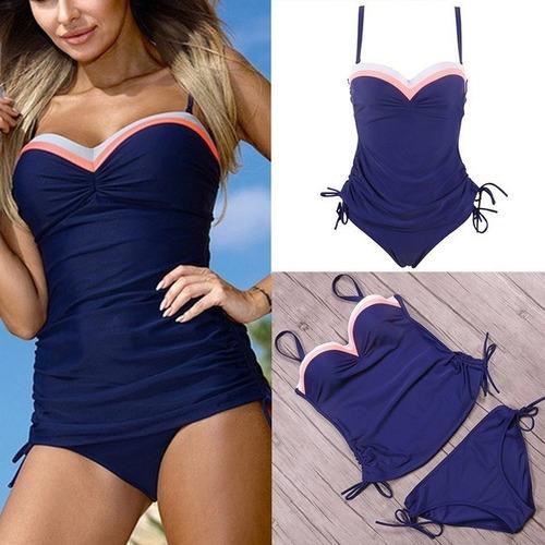 traje de baño mujer monokini playera excelente calidad azul