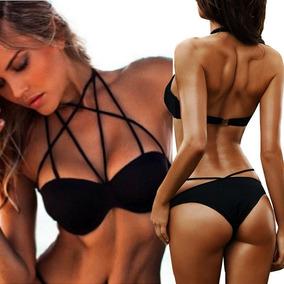 Traje De Baño Mujer Negrp Bralete Bañador Bikini Sexi Playa