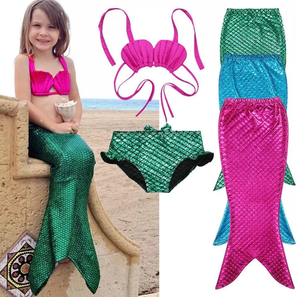 Niña Sirena Cola De Traje Bikini Baño Gratis Envio OPXiZTku
