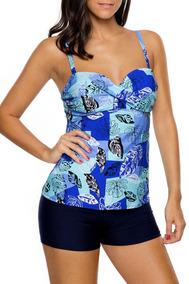 540200477020 Traje De Baño Tallas Extras Plus Short Azul Tankini Blusa