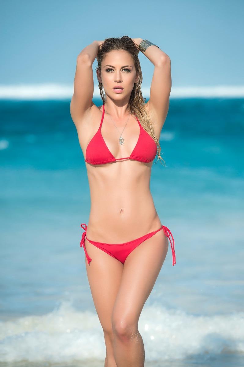 Traje De Baño Tanga Bikini Clásico Rojo Resort 2019 - 6728 ...