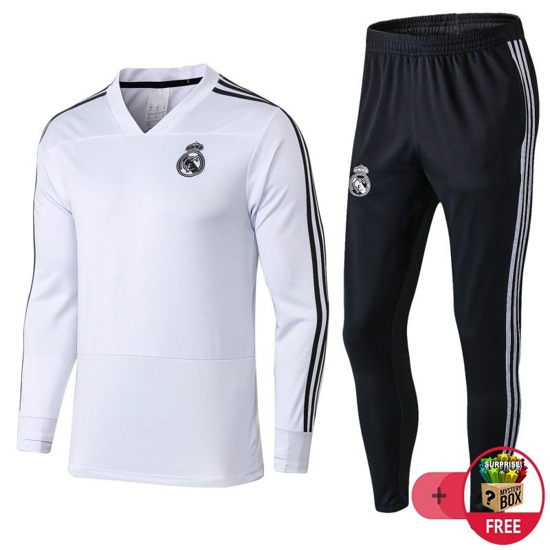 Traje De Entrenamiento De F Tbol Adulto Real Madrid Blanco ... 65350f7fc5286