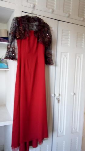 traje de fiesta talla s color rojo con chaqueta de encaje
