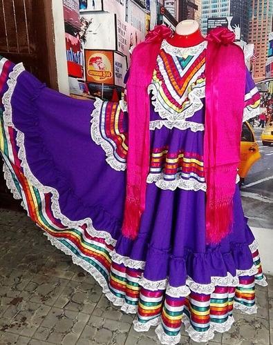 traje de jalisco lujo mujer todos los colores - envío grátis