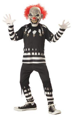 traje de payaso espeluznante boy, mediana, de color