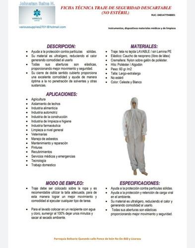 traje de seguridad antifluido, 75 de gramaje