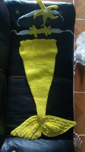 traje de sirena para niña tejido a mano. reci. nacido -20%