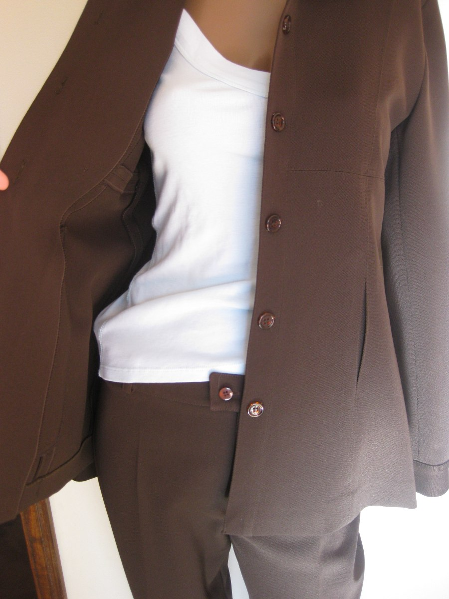 Traje De Vestir De Mujer Marron Pantalon + Blazer Talle 44 -   3.100 6520fa8830ce