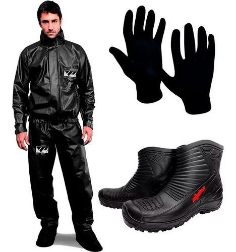 traje equipo de lluvia pantaneiro brasil botas guantes - sti