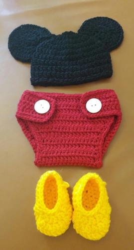 traje mickey mouse para bebè tejido a mano