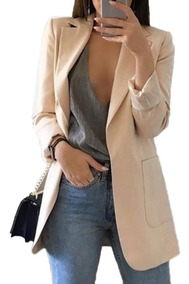 51c7a3dbfd90 Traje Oficina Moda Mujeres Color Sólido Sin Botón Solapa D