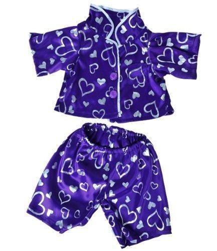 traje oso de peluche de la ropa púrpura oscura del corazón d