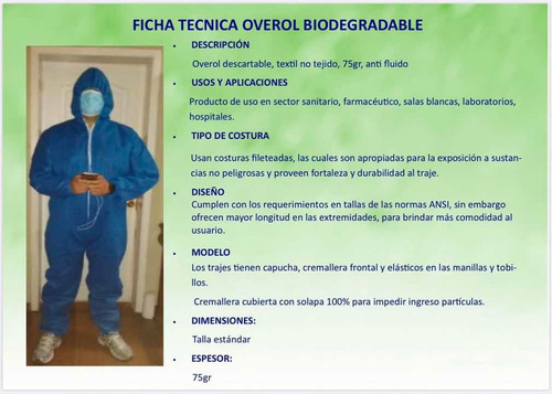traje overol protección antifluidos bioprotector  reusable