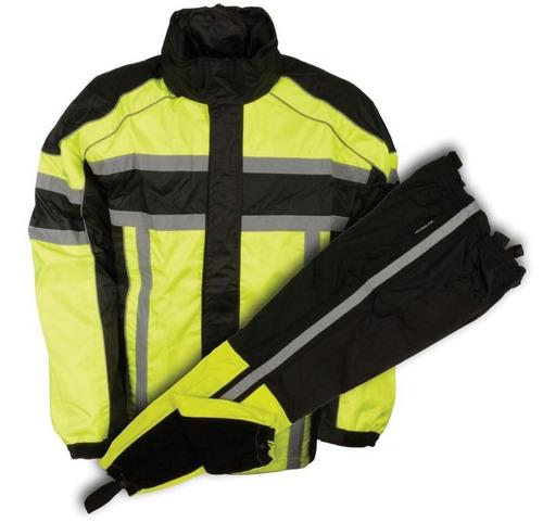 traje p/lluvia milwaukee p/hombre cuero negro/verde neón 2xl