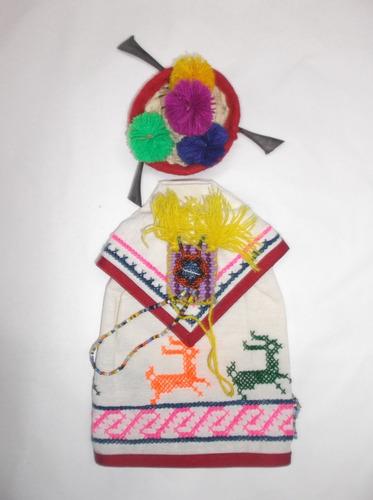 traje típico huichol miniatura pareja para salsa en manta.