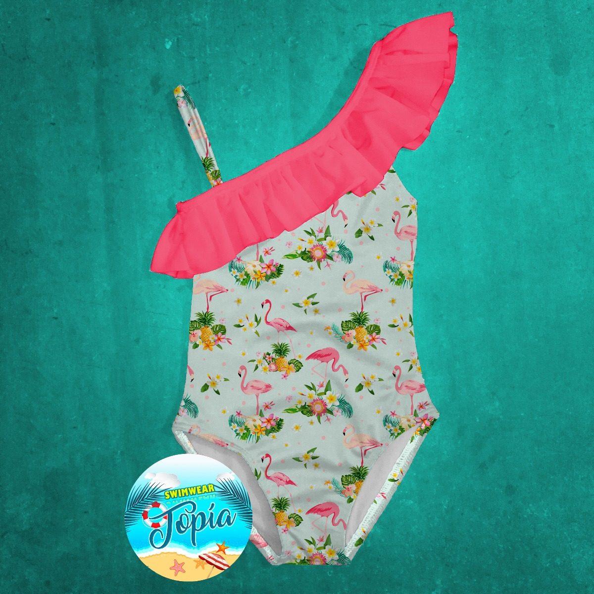 00ff44009b traje vestido de baño de niña estampado tropical flamingos. Cargando zoom.