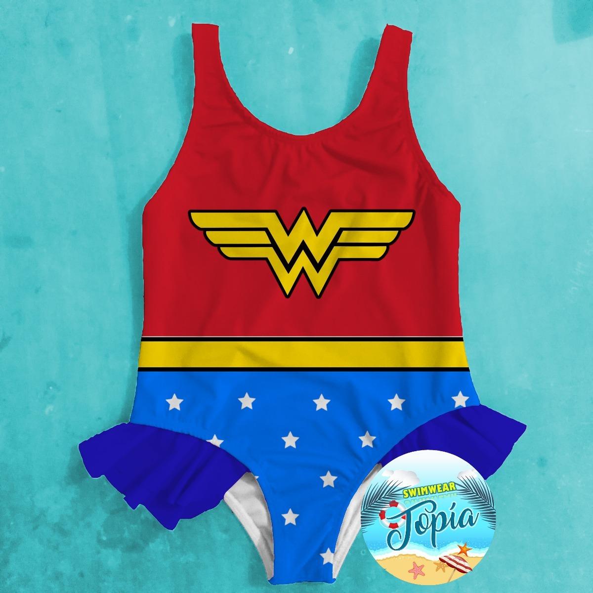 Girl Traje Vestido Niña Maravilla Superhero Mujer De Baño hBsQorxdtC