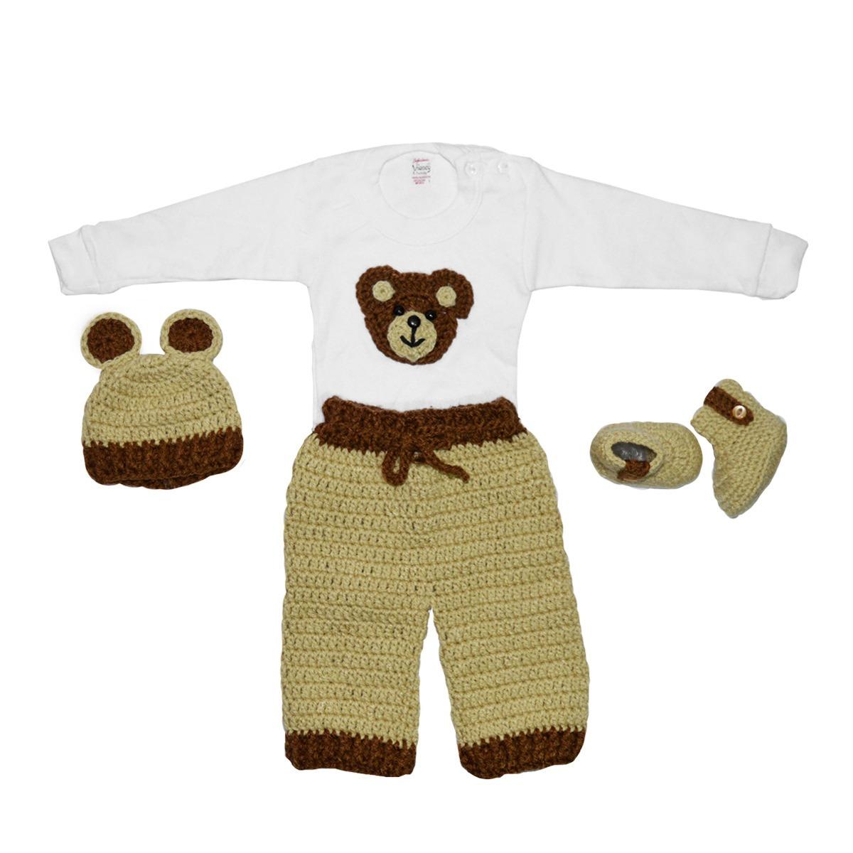 Trajecito De Osito Para Bebé Tejido A Crochet - $ 450.00 en Mercado ...