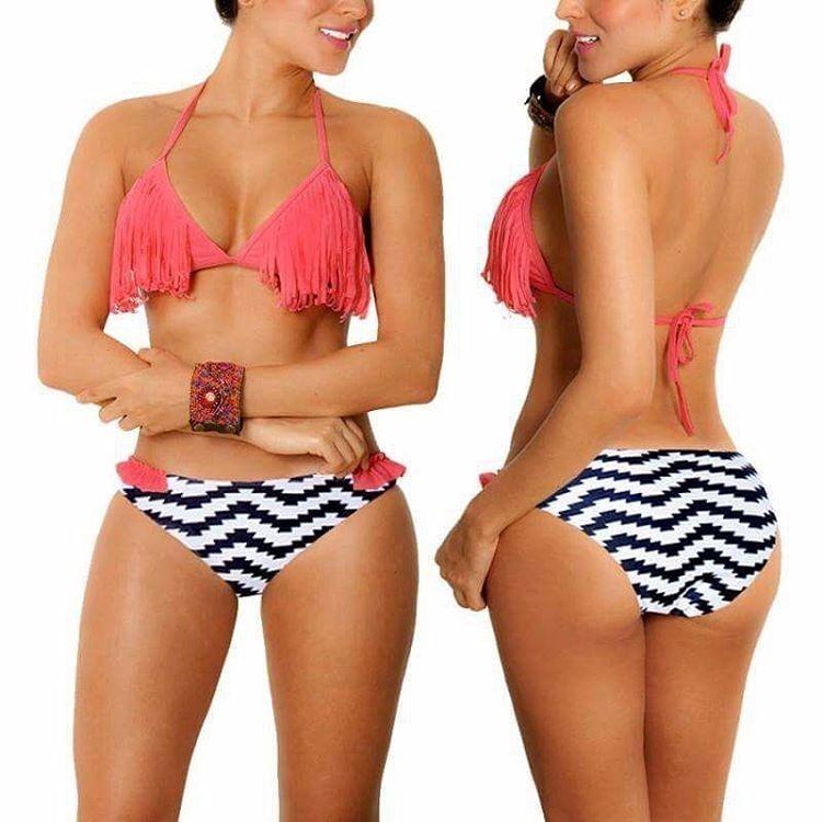 ed9bc9adb Trajes De Baño Bikini Malla Flecos Coral Liquidación -   600