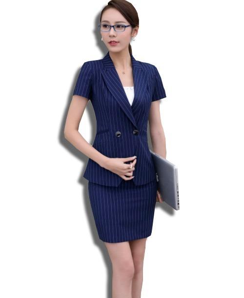 Trajes Dama Elegante Blazer + Falda Rayas Escote V Cruzado - U S ... 4c3b1ce41222