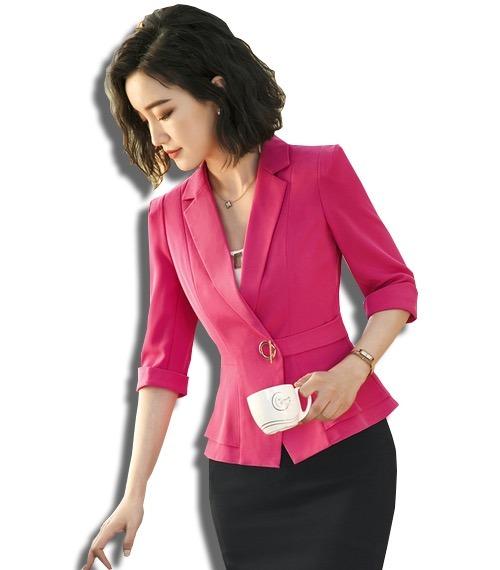 60c4fa5c55 Trajes Dama Saco Blazer + Falda Elegante Manga 3 4 Colores - U S ...