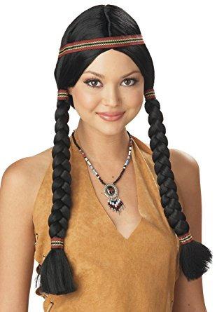 trajes de california de la mujer virginal indio de la peluc