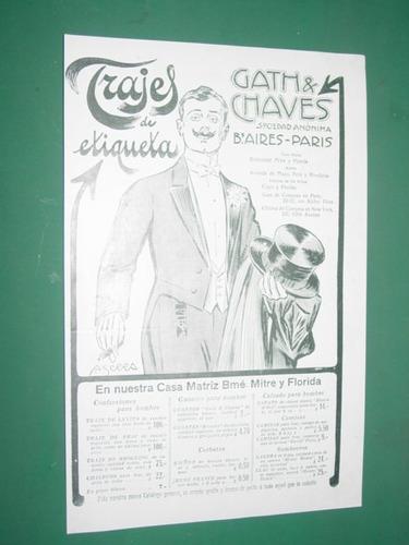 trajes de etiqueta gath & chaves clipping publicidad 1910