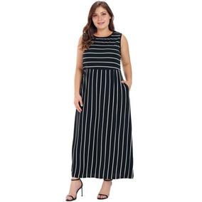 38754b1009 Vestido Largo Rayas Negro Y Vestidos Mujer - Ropa y Accesorios en ...