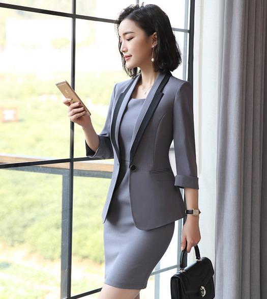 Trajes Para Mujer Blazer + Vestido Contraste Solapa Elegante - U S ... cc452ee0bd8c