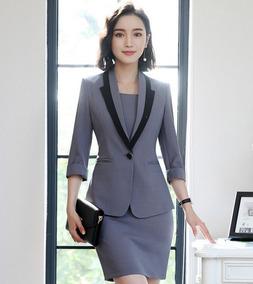 mejor sitio web 08c3c a4354 Trajes Para Mujer Blazer + Vestido Contraste Solapa Elegante
