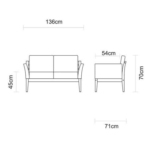 tramontina sofá 2 lugares de fibra preta e madeira jatobá