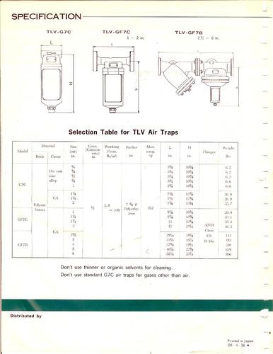 trampa para aire comprimido marca tlv modelo g7c de 1/4