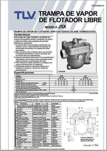 trampa para vapor flotador libre tlv j5n-8 3/4 plg rosca npt