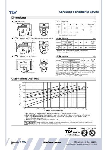 trampa para vapor flotador libre tlv j5x-8 1 plg roscada npt
