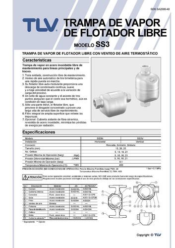 trampa para vapor flotador libre tlv ss3n-10 3/4 pulgada npt