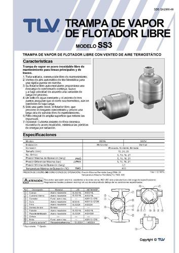 trampa para vapor flotador libre tlv ss3v-10 1/2 pulgada npt