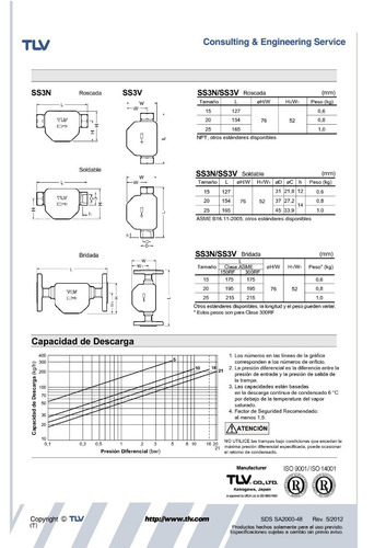 trampa para vapor flotador libre tlv ss3v-21 1/2 pulgada npt