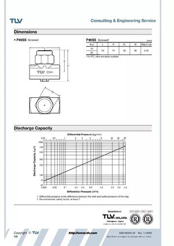 trampa para vapor termodinamica tlv p46ss de 1/2 pulgada