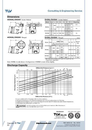 trampa para vapor tlv sh5nl-32 3/4 pulg bridas 600rf