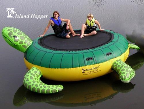 trampolin aquatico inflable isla la tortuga lagos piscinas
