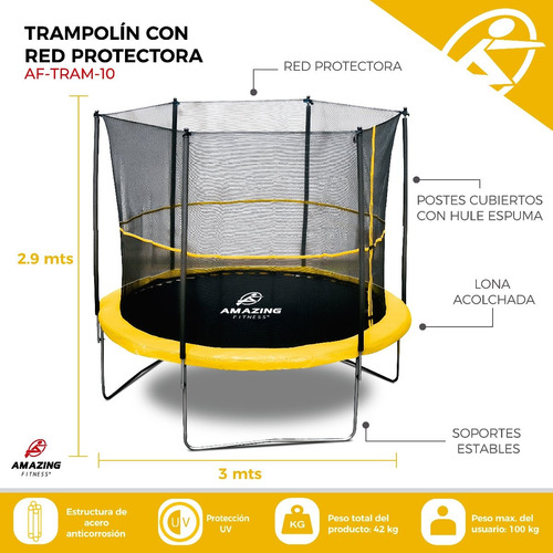 trampolín brincolín con red 3.0 mts (10ft) amazing fitness®