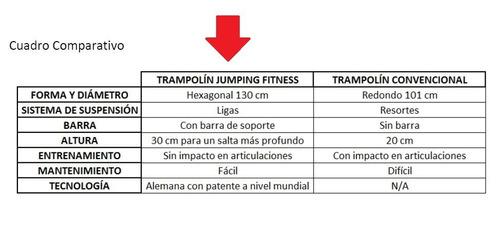 trampolín jumping fitness cama elástica profesional rosa