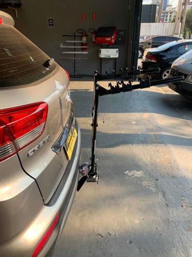 transbike de engate p/ 3 bikes universal preto c/ cintas