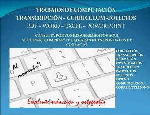 transcripción, redacción, corrección, trabajos