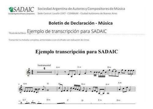 transcripciones a partitura. uso personal o registro sadaic