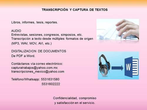 transcripciones y captura de texto y audio transcripción